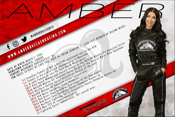 Amber Balcaen Racing - Hero Card - Dirt Track - Back